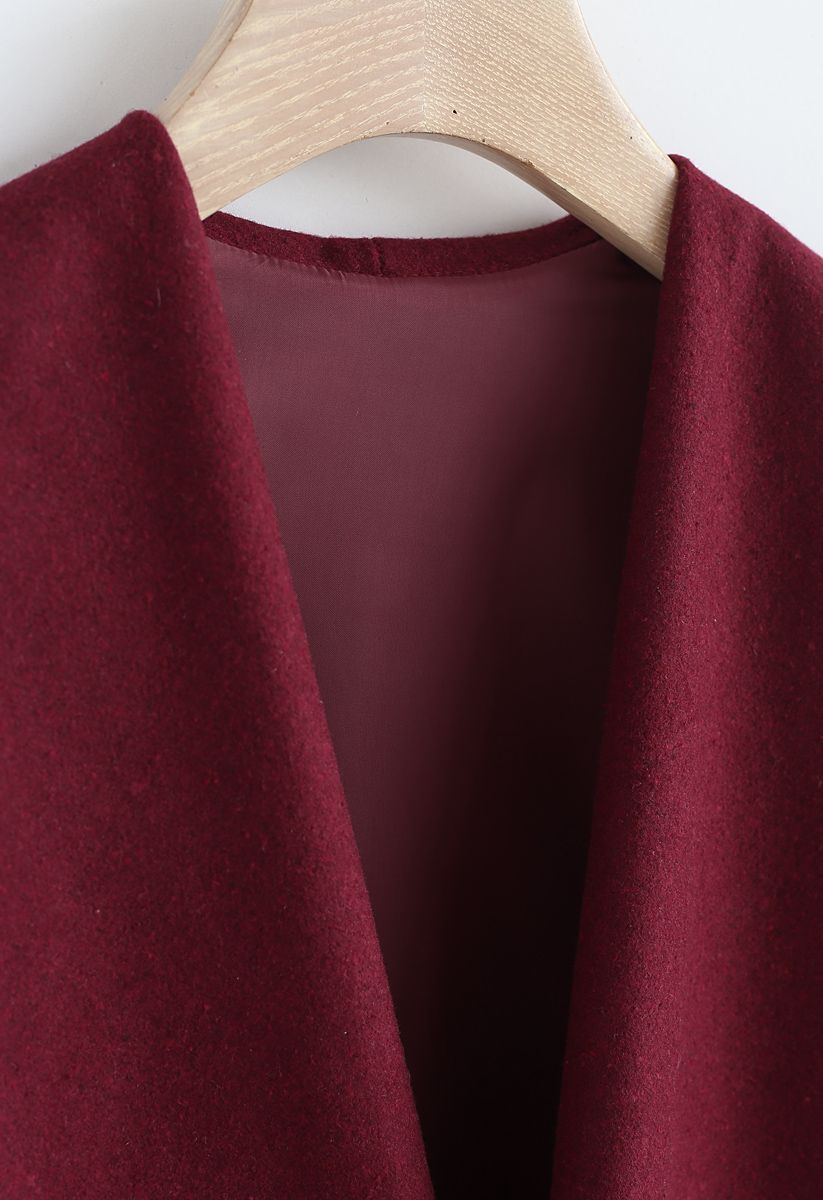 N.A Myself Manteau en laine mélangée ouvert bordeaux