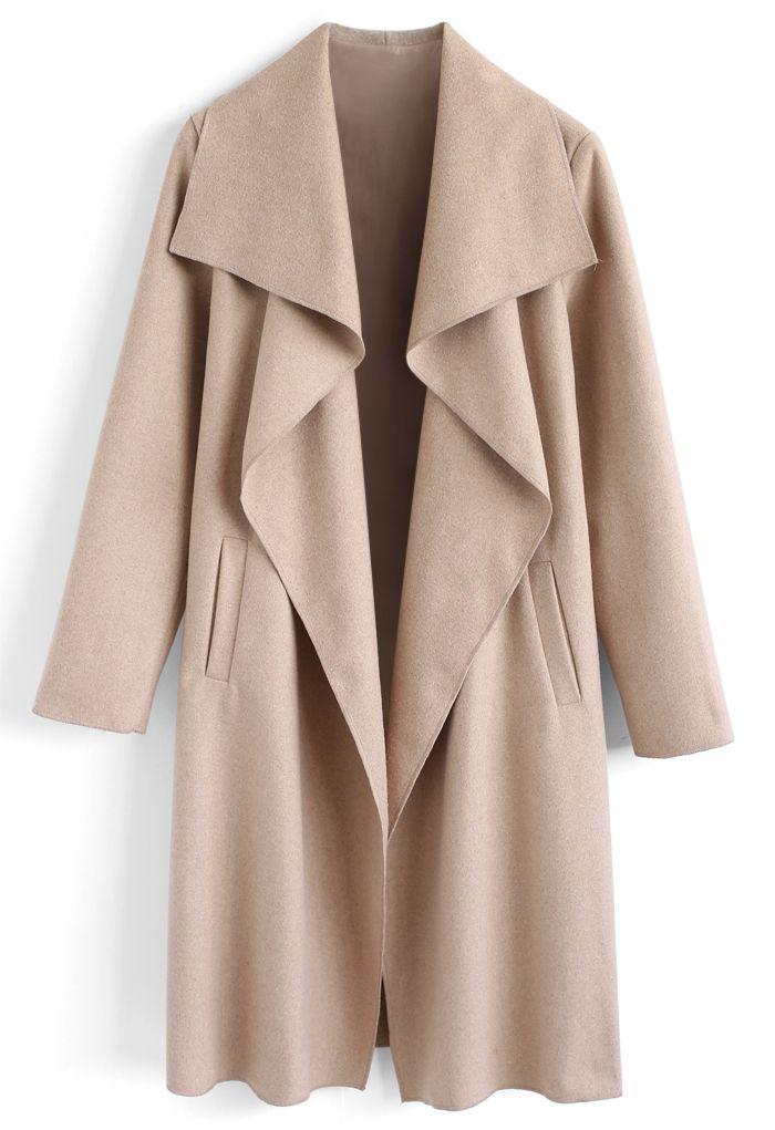 Manteau ouvert en mélange de laine, couleur sable