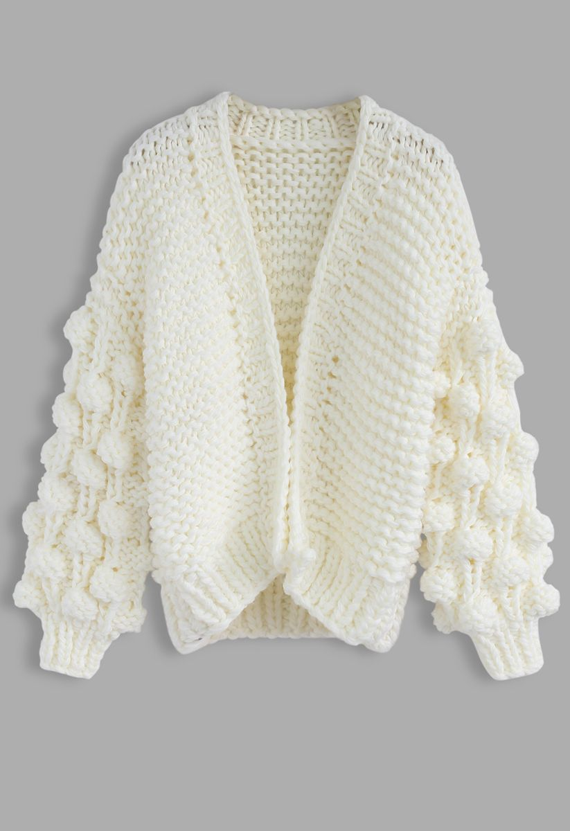 Cuteness on Sleeves Cardigan à grosse maille blanc
