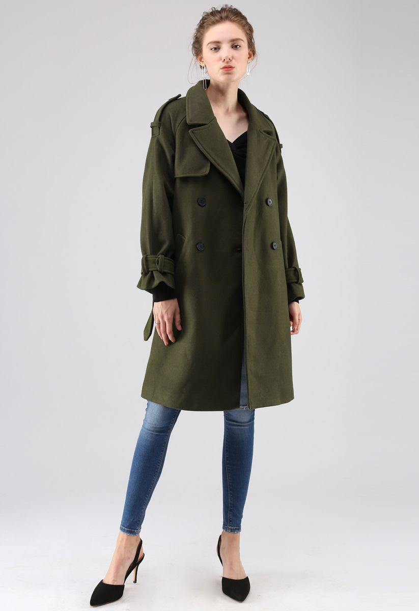 Manteau en mélange de laine à double boutonnage Snug en vert armée