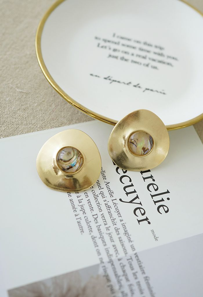 Marble Decorated Gold Earrings