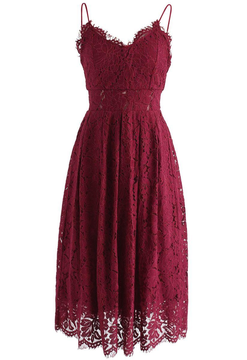 Spirit of Romance - Robe camisole en dentelle et vin