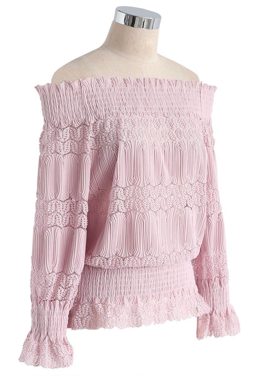 Stay Sweet Top côtelé à épaules dénudées rose