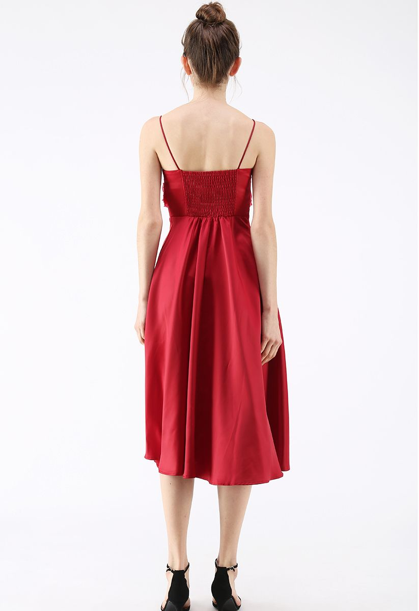 Silkiness Sweetheart Cami Dress en rouge