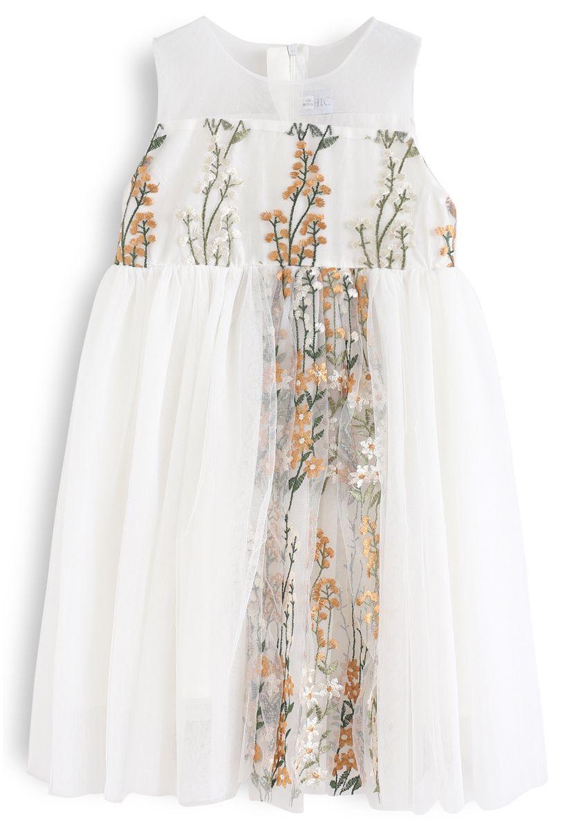 Little Darling Robe sans manches en maille brodée à la crème pour les enfants