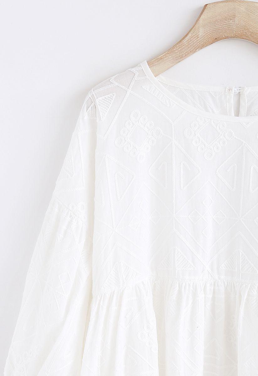 Boho Maze Haut Dolly brodé en blanc
