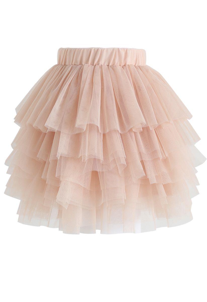 Jupe Love Me More en tulle superposé rose pâle pour enfants