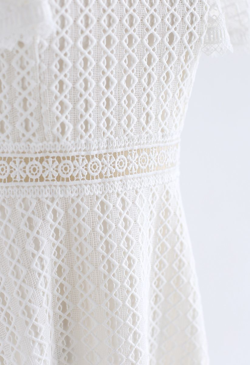Crochet Me Grace Mini Robe en Blanc
