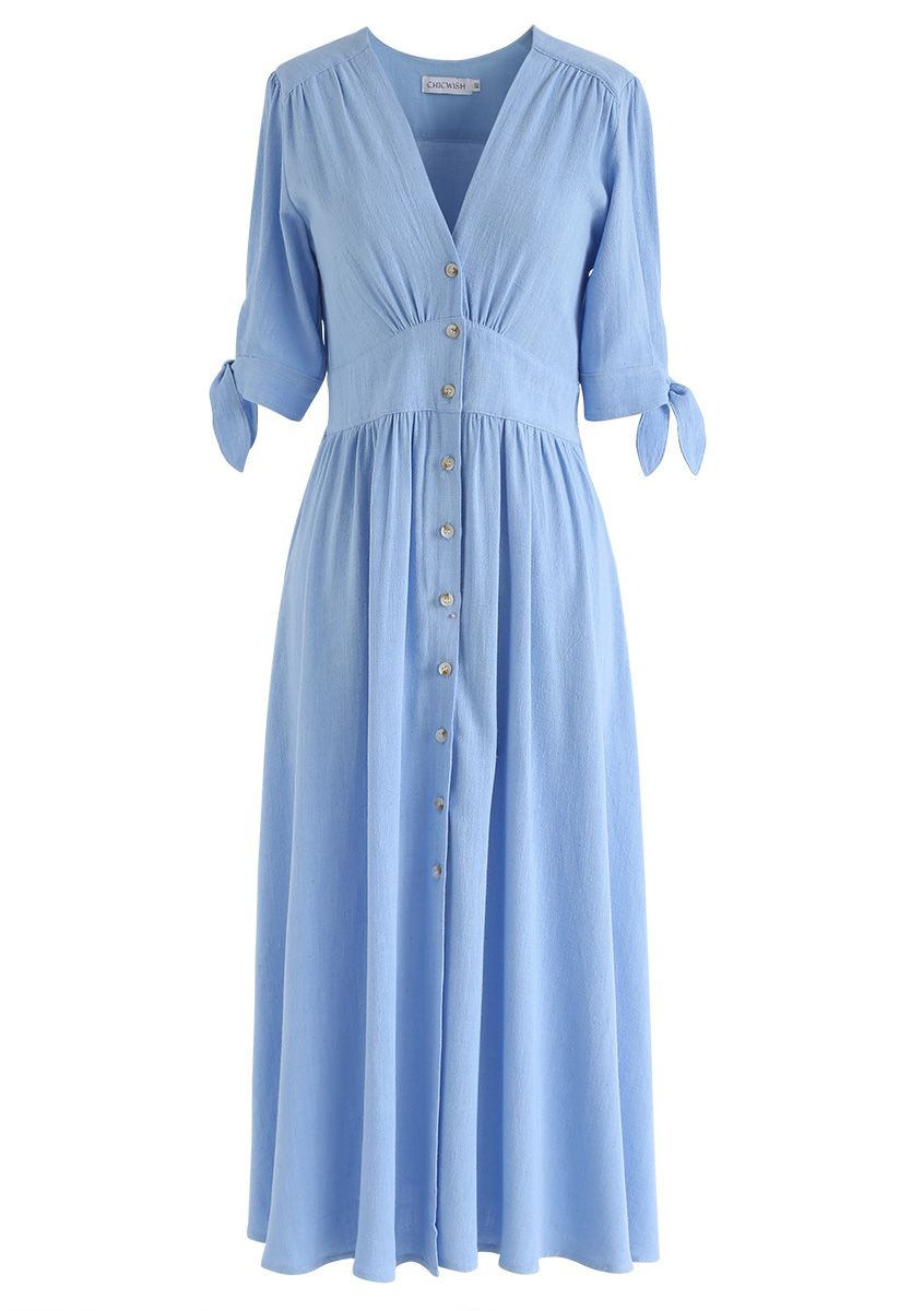 Edition d'Eté, Robe boutonnée à col en V bleu
