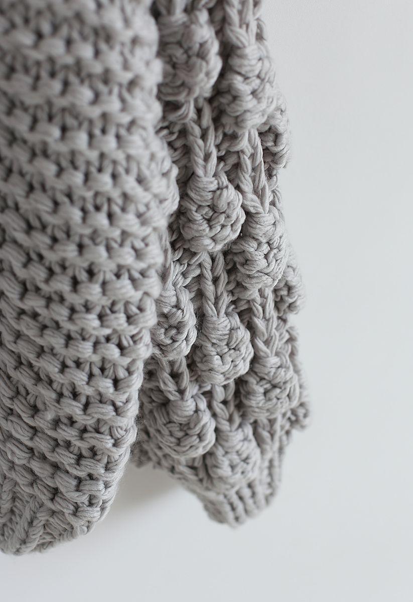 Cardigan épais manches pompon gris