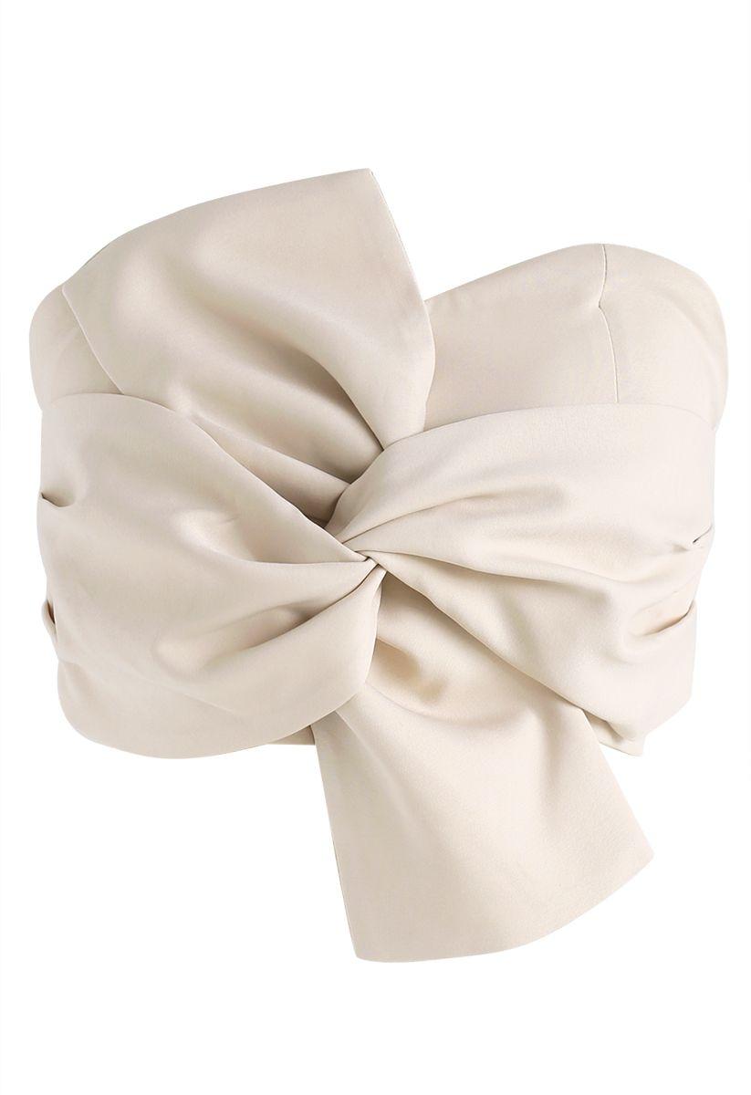 Top bustier noeud doux à la crème