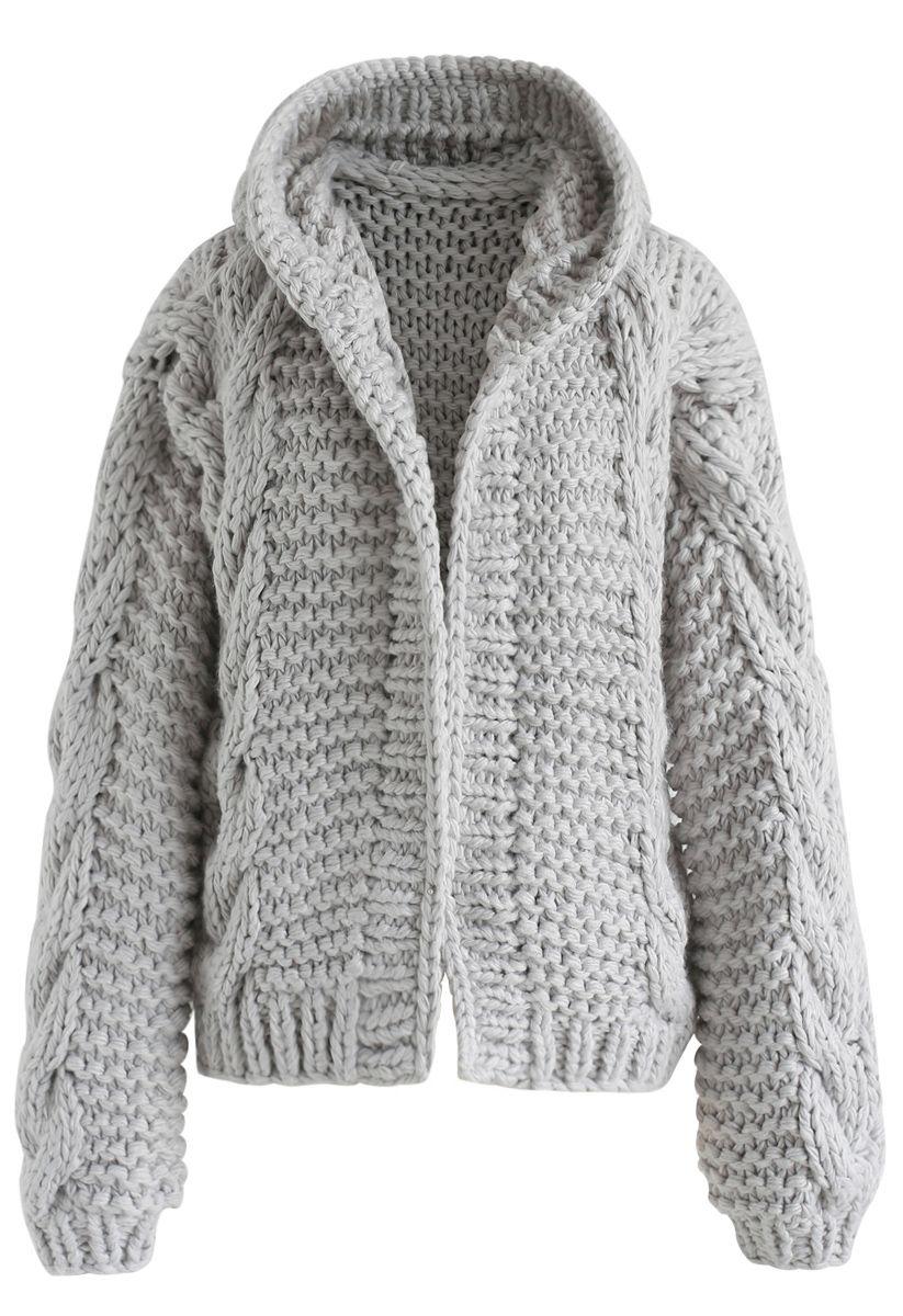 Cardigan épais à capuche gris