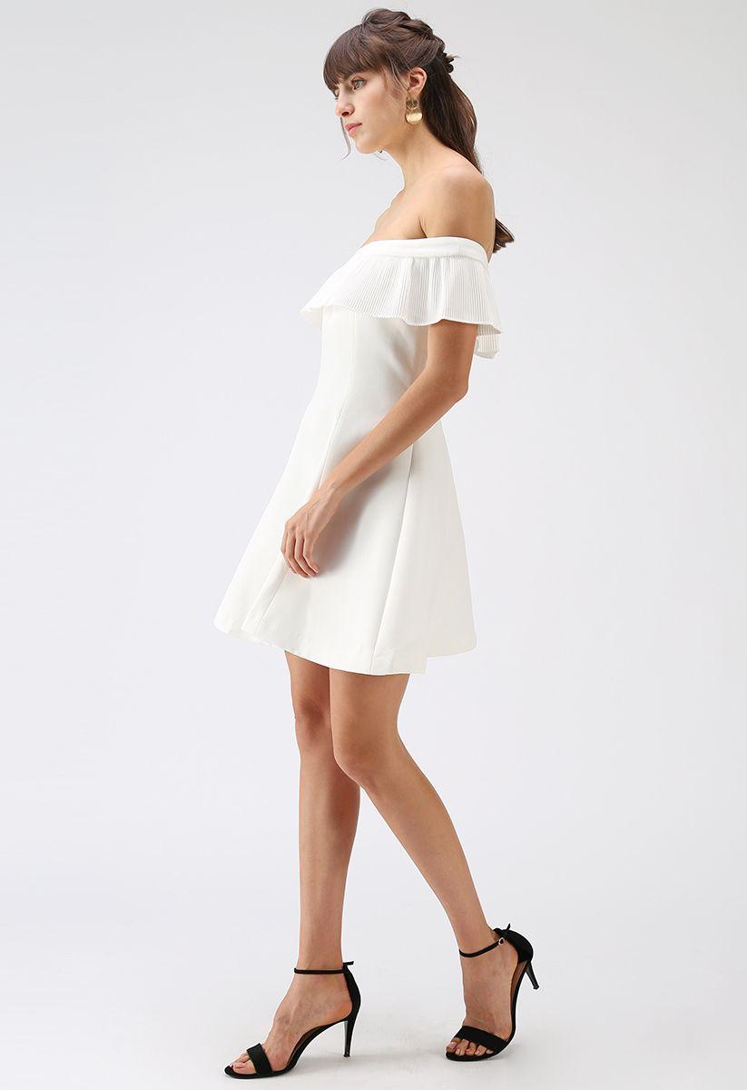 Allons-y pour la robe boule à épaules dénudées en blanc