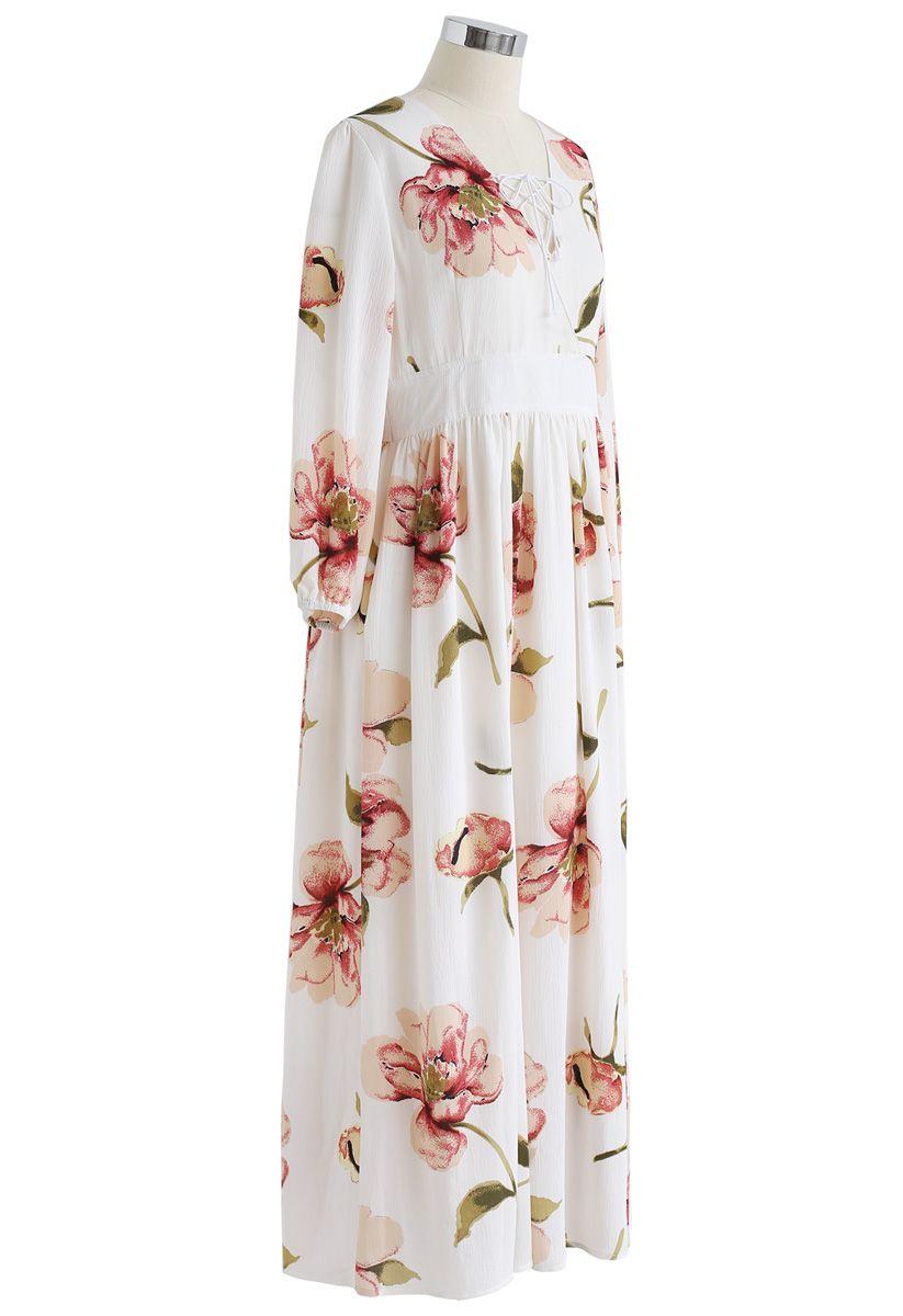 Sweet Things - Robe longue en mousseline à fleurs à la crème