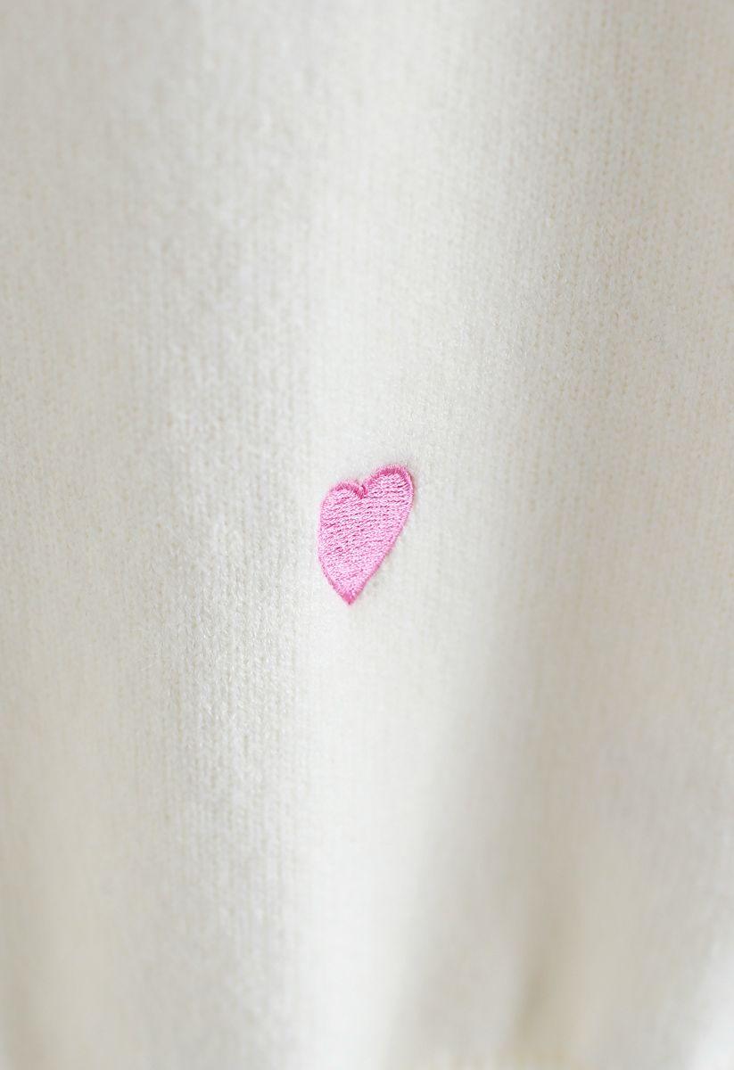 Pull en maille Sweet Love Spot en blanc