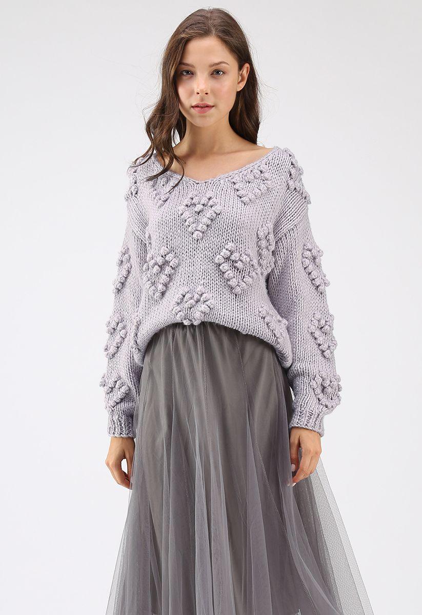Pull tricoté col en V couleur lavande