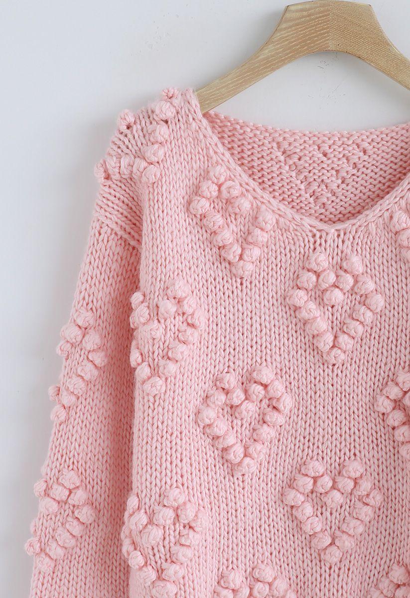 Pull tricoté col en V couleur rose