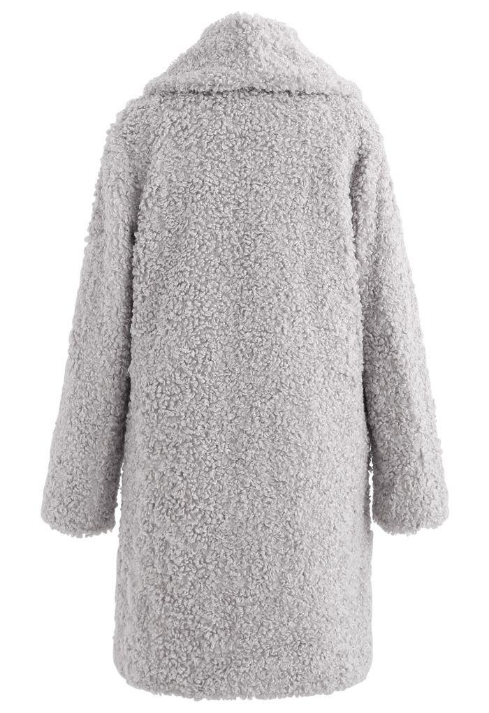 Sensation de chaleur Long Manteau en fausse fourrure couleur gris