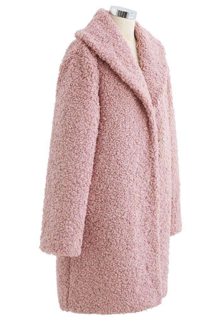Sensation de chaleur Long Manteau en fausse fourrure couleur mauve