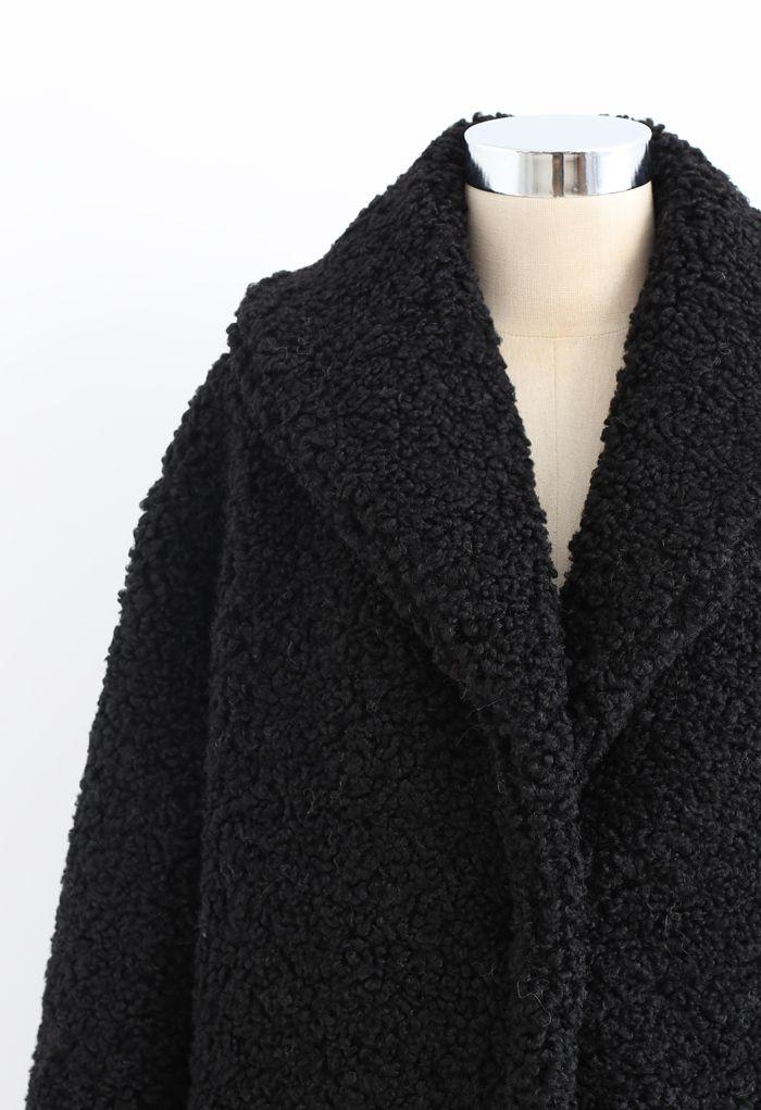Sensation de chaleur long manteau en fausse fourrure en noir