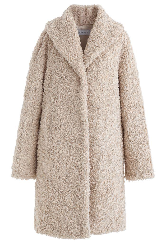 Sensation de chaleur Long Manteau en fausse fourrure couleur sable