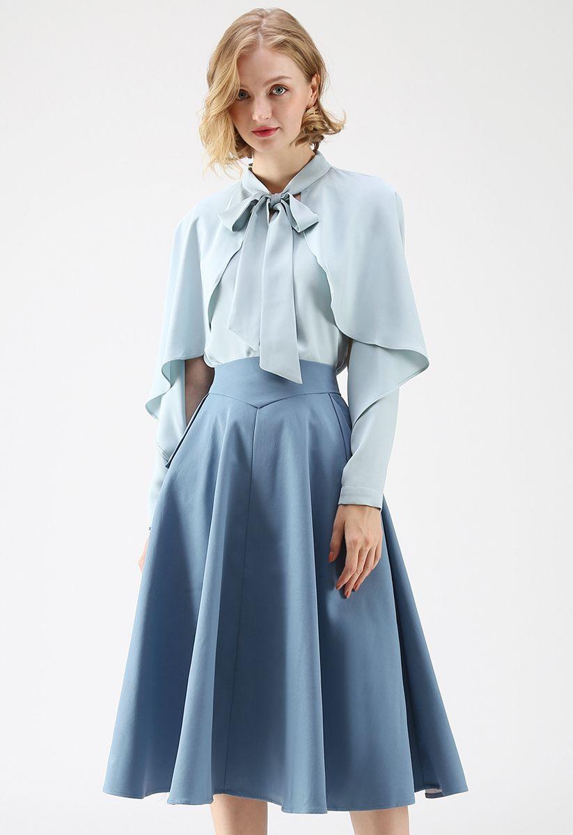 Jupe mi-longue classique Simplicity en bleu