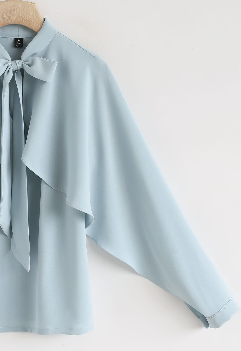 Coup de cœur pour le casual Bowknot Cape Sleeves Top in Blue