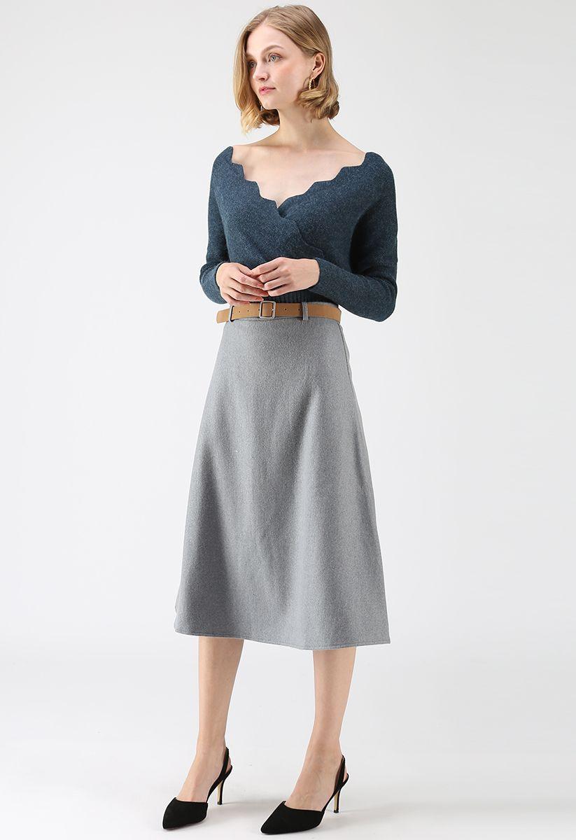 Haut en tricot ondulé Cafe Time en turquoise