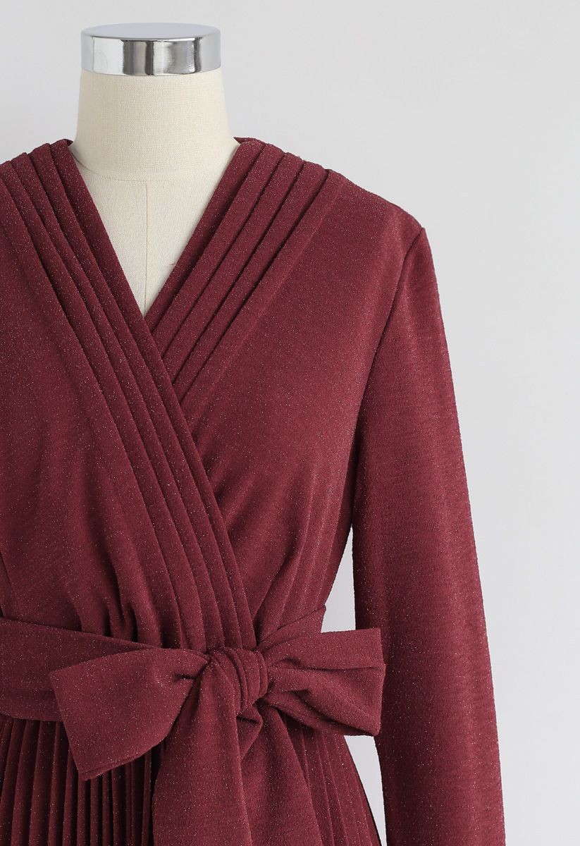 Shiny and Sparkly Pleated Midi Dress in Wine