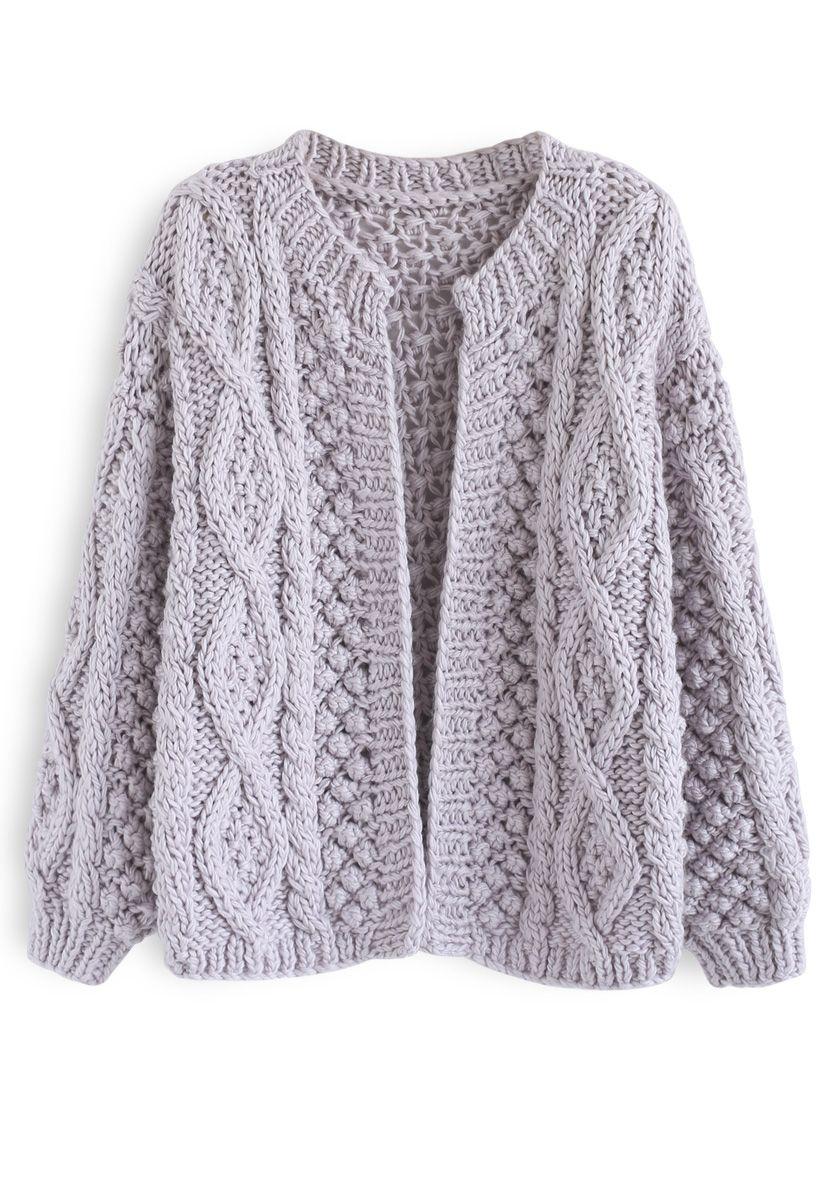 Cardigan en tricot torsadé matinal à la lavande