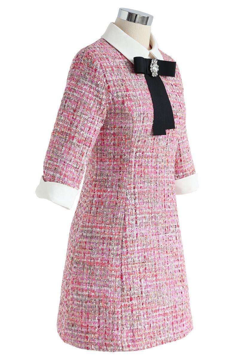 Frappez votre coeur Robe en tweed bowknot avec diamants