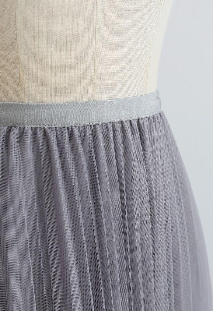 Appelez votre nom jupe en maille plissée en bleu poussière