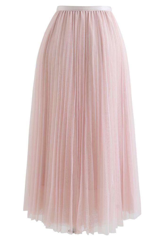 Appelez votre nom jupe en maille plissée en rose