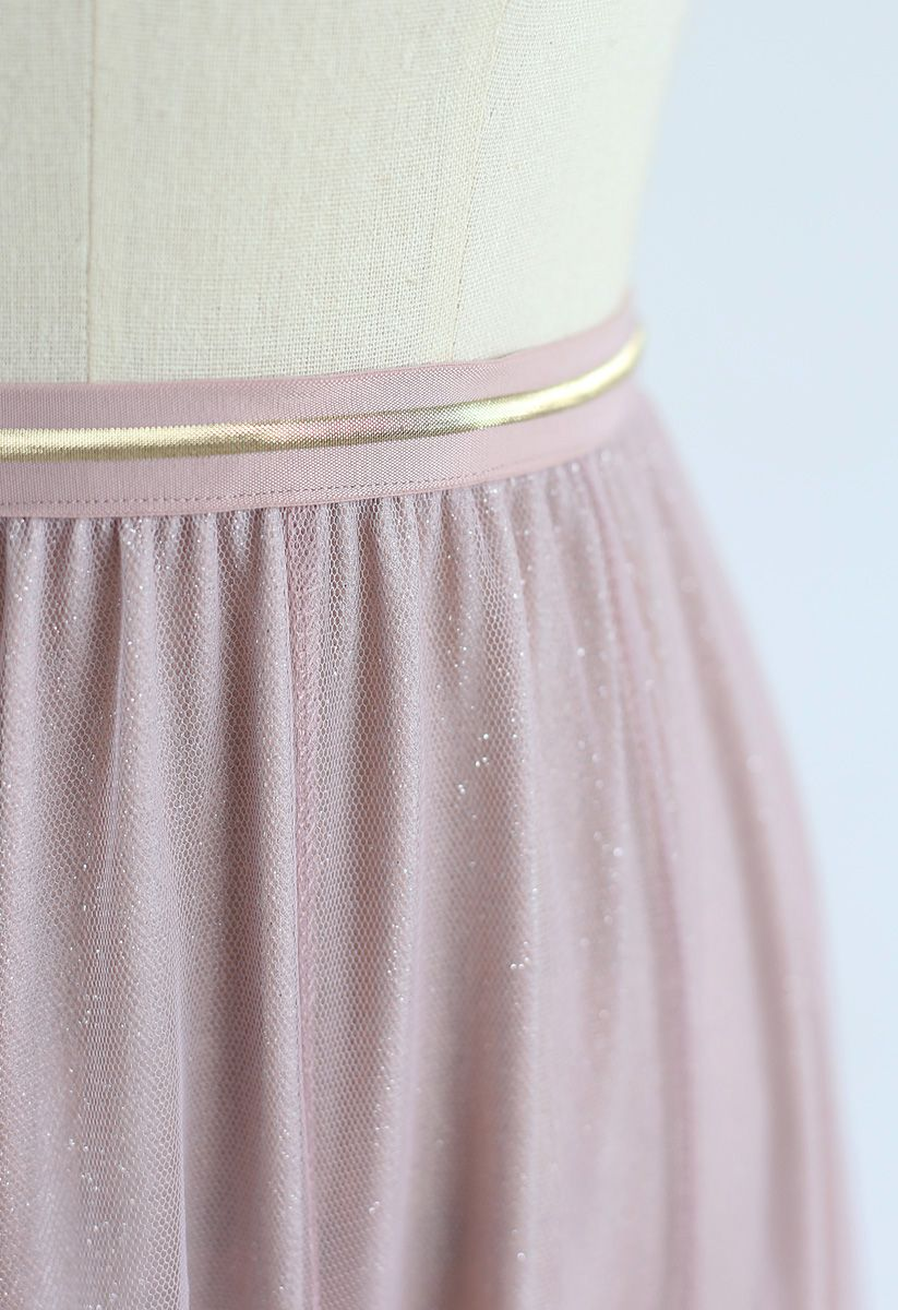 Jupe longue en tulle My Secret Weapon - Rose pailleté