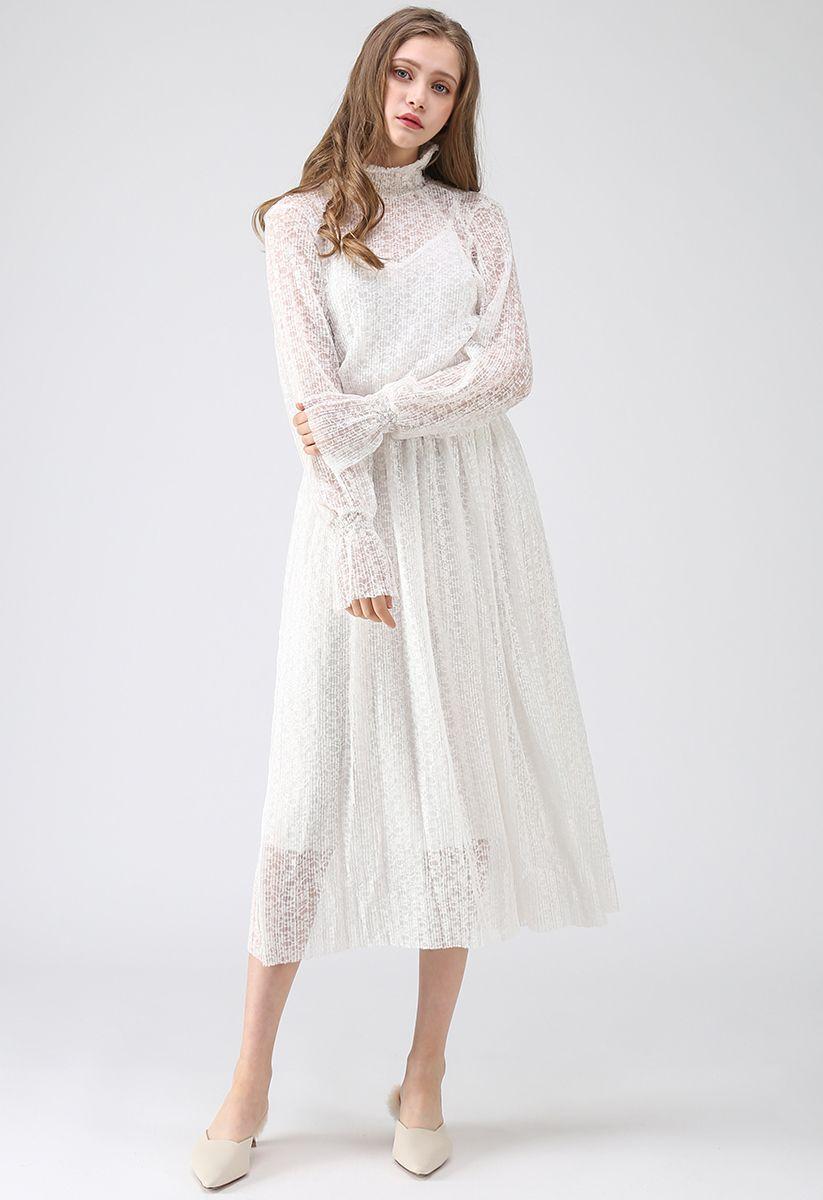 Destination pour la robe en dentelle plissée Romance en blanc