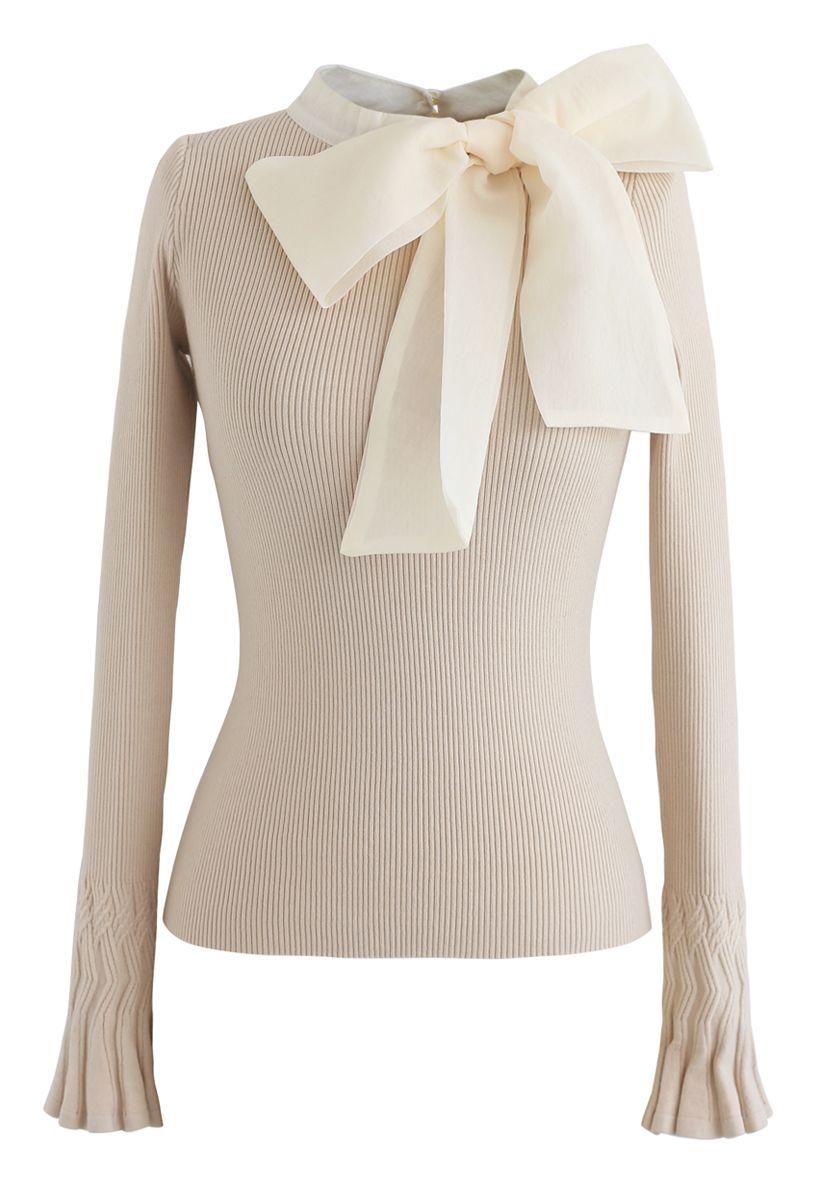 Top en tricot avec nœud beige