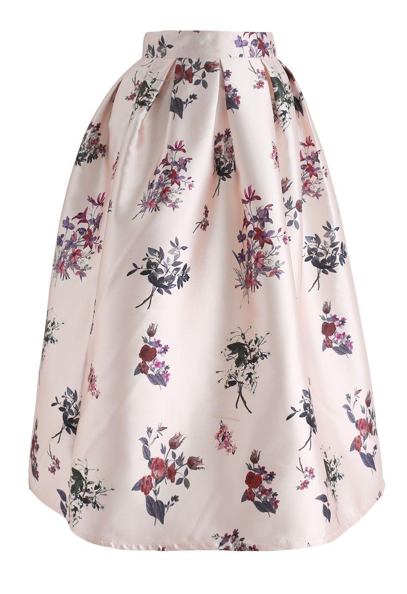 Jupe mi-longue à imprimé floral