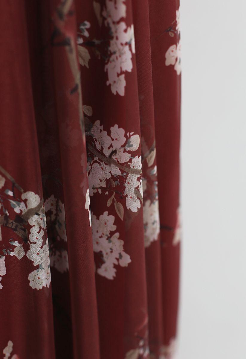 Jupe longue aquarelle fleurs de prunier dans le vin