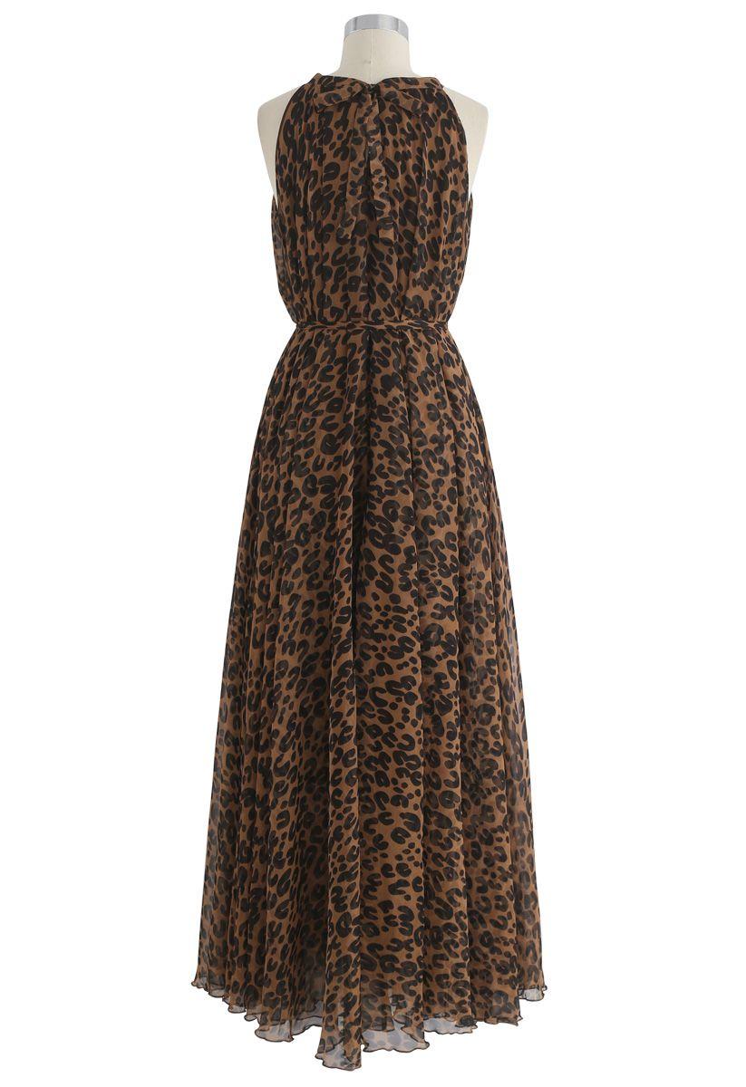 Léopard Aquarelle Maxi Slip Dress in Brown