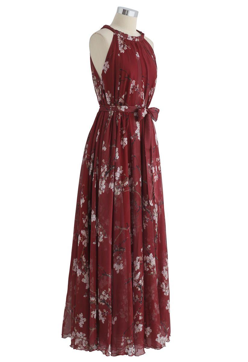 Robe longue aquarelle à fleurs de prunier – couleur bordeaux