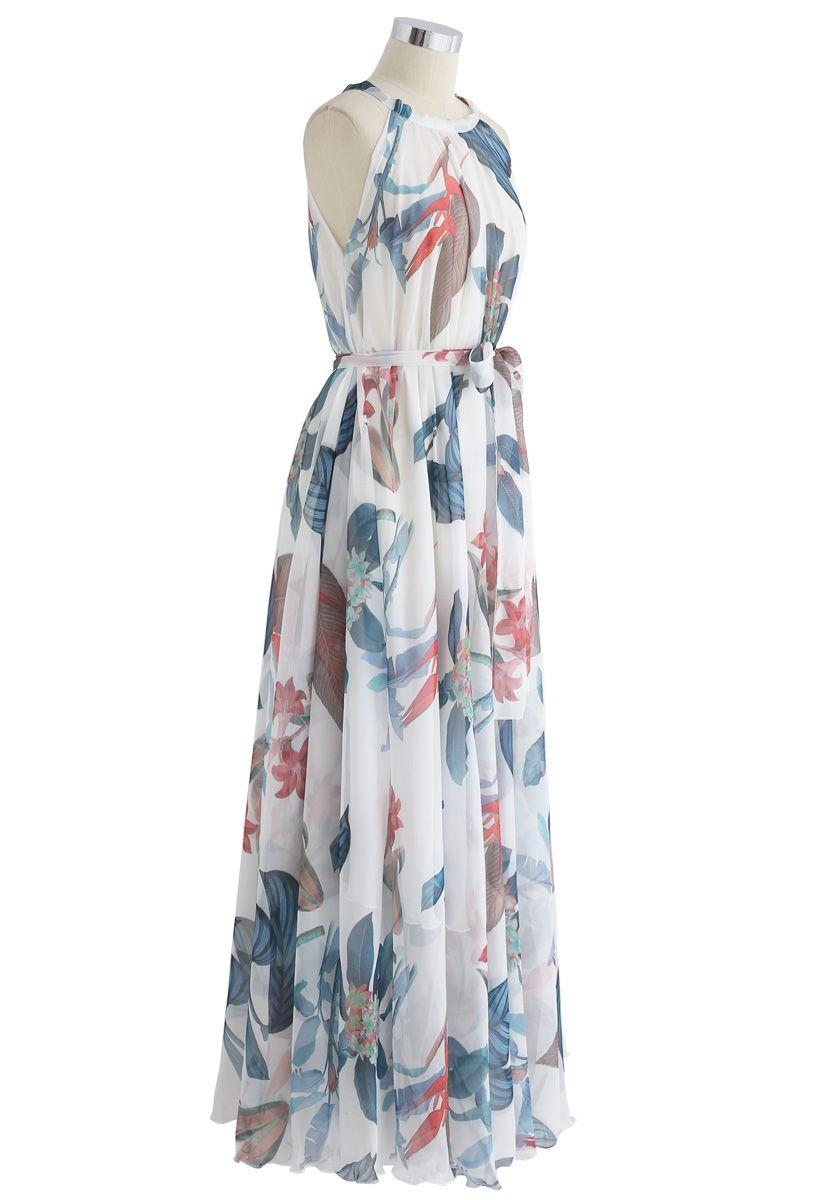 Robe longue aquarelle à fleurs tropicales - blanc