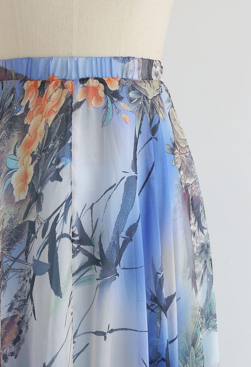 Bambou Aquarelle Maxi Jupe en Bleu