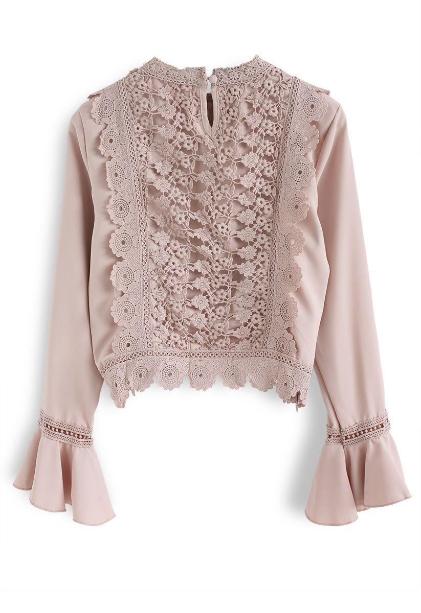 Make a Move  Floral Crochet Crop Top in Nude Pink