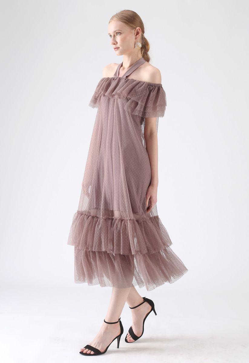 Dolly Coral Halter Robe en maille épaules dénudées