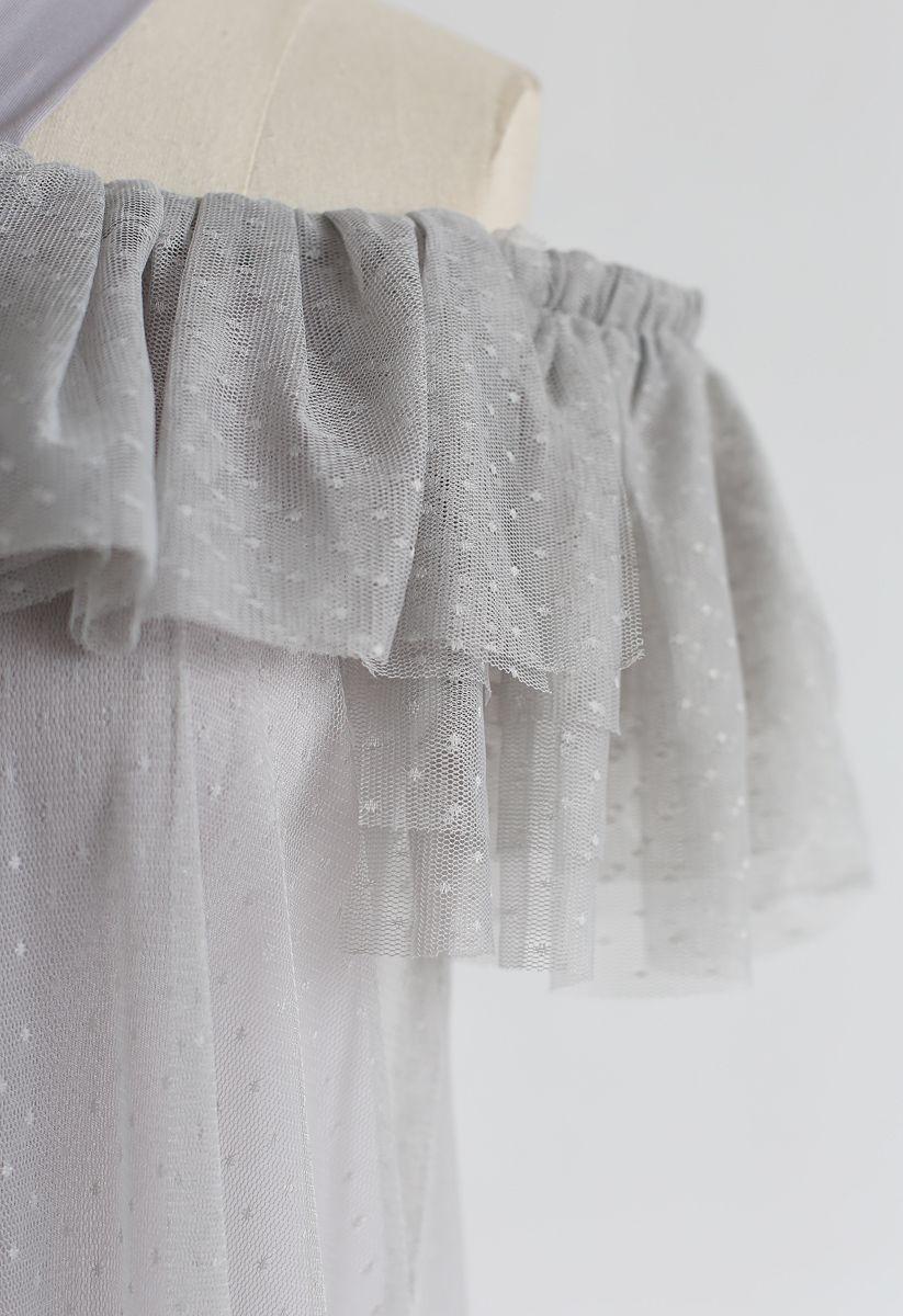 Robe en maille à épaules dénudées et dos nu gris Dolly