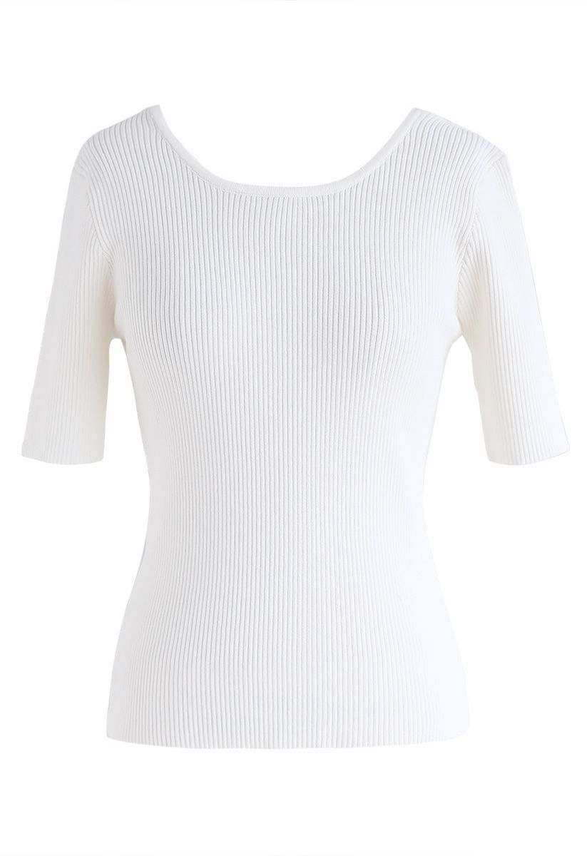 Just for Bowknot Cutout Knit Top en Blanc