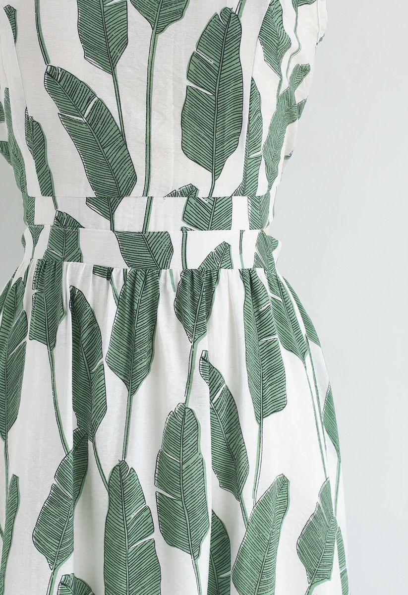 Robe longue à col licou et imprimé feuilles de palmier