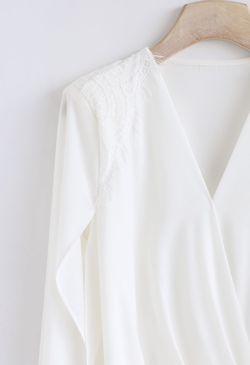 Outta My Hand Wrap Top in White