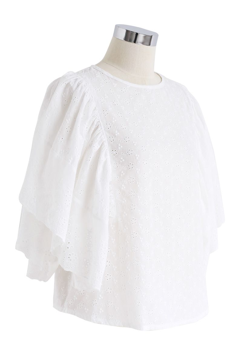 Swinging Frilling Eyelet Embroidered Top in White