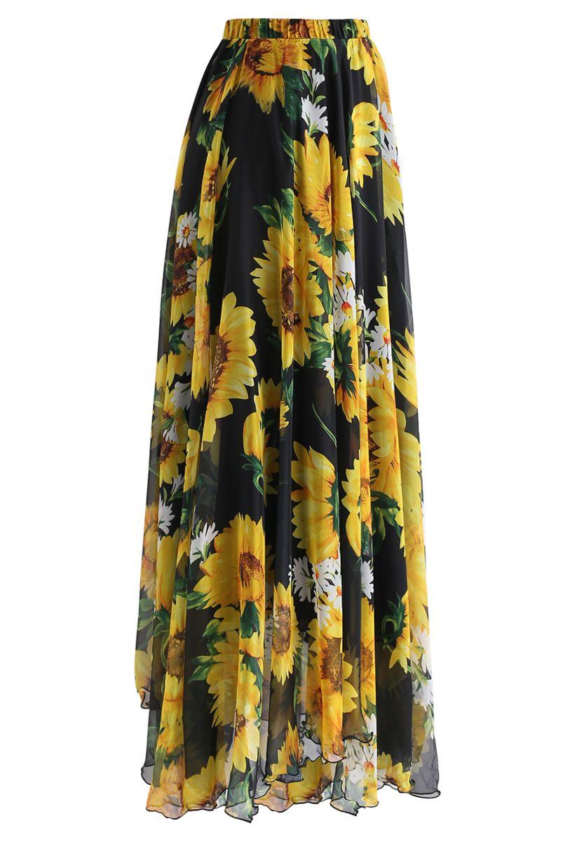 Floral Sunflower Aquarelle Maxi Jupe en Noir